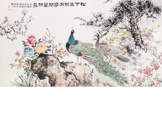 Zhu Qizhan (1892-1996), Zhang Dazhuang (1903-1980), Liu Haisu (1896-1994), and Deng Sanmu (1898-1963) Peacocks and Flowers under Pine, 1959