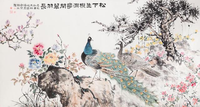 Zhu Qizhan (1892-1996), Zhang Dazhuang (1903-1980), Liu Haisu (1896-1994), and Deng Sanmu (1898-1963) Peacocks and Flowers under Pine, 1959
