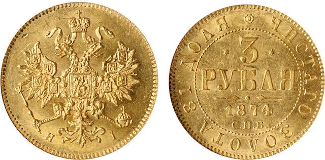 Russia, Alexander II, Gold 3 Roubles, 1874-ϹПБ HI MS62 PCGS