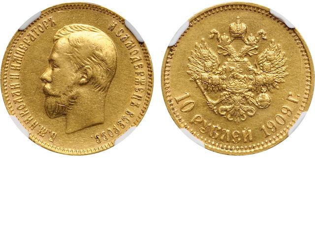 Russia, Nicholas II, Gold 10 Roubles, 1909-EB AU55 NGC