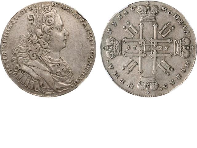 1727 Russia Rouble, Peter II, KM-182.1 XF45 NGC
