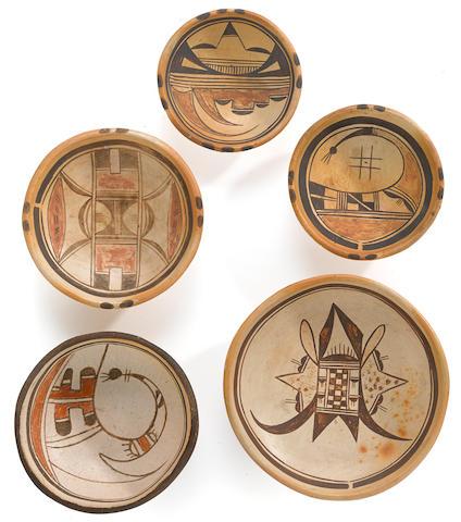 Five Hopi polychrome plates