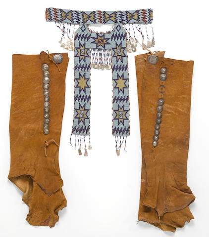 An Apache beaded collar and a pair of Navajo leggings