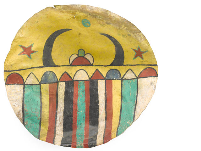 A Pueblo rawhide dance shield
