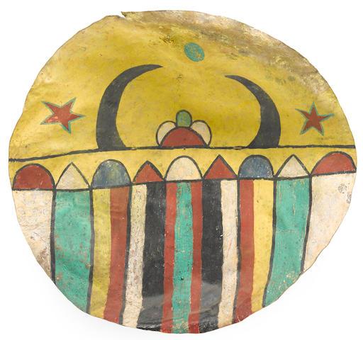 A Pueblo rawhide dance shield