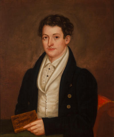 American school, second quarter 19th century Portrait of a young man holding a book
