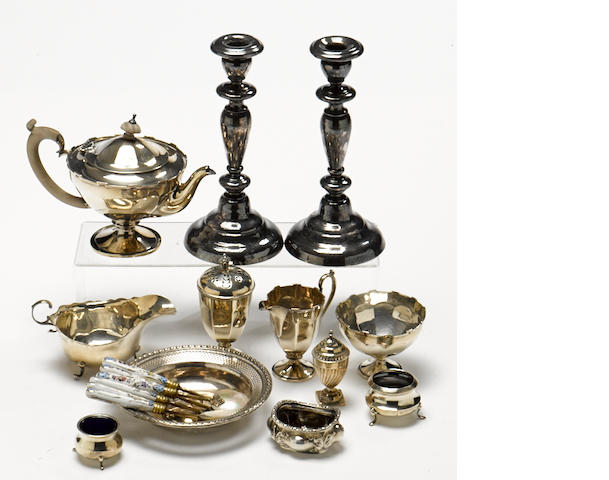 An assembled International group of  silver and silverplate  hollowware, flatware and accessories by various makers, 19th / 20th century