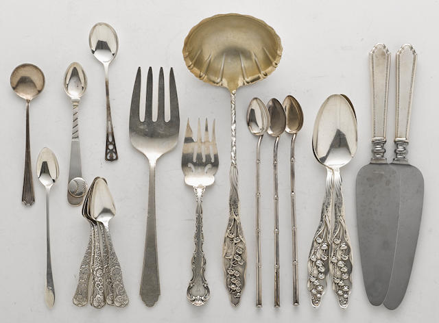 An assembled group of American  sterling silver and silverplate  flatware by various makers,  late 19th / 20th century