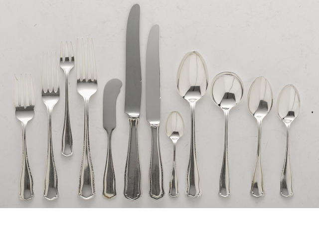 An assembled American  sterling silver  part flatware service for twelve by Shreve & Co., San Francisco, CA, first half 20th century