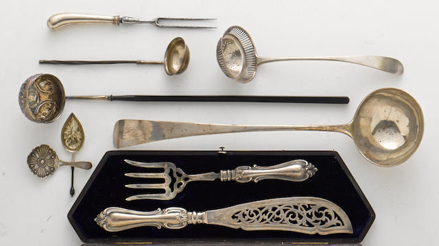 An assembled group of International sterling silver  serving flatware by various makers,  18th - 19th century