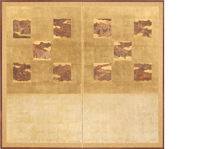 Anonymous Rimpa school (17th century)<BR />Episodes from the Tale of Genji