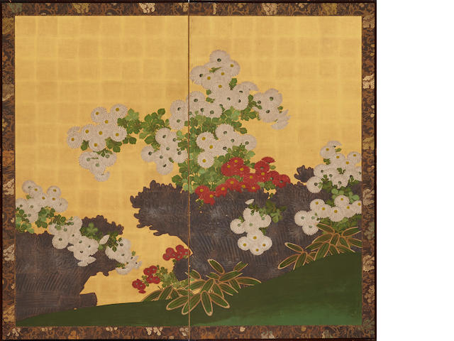 Anonymous Kano school (Meiji period)<BR />Chrysanthemums and Brushwood Fence