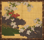 Anonymous Kano school (Meiji period) Chrysanthemums and Brushwood Fence