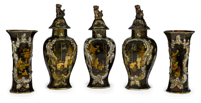 A rare Berlin tin-glazed and lacquered earthenware Japonesque five-piece garniture<BR />circa 1840