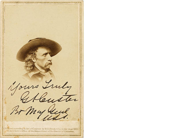 "CUSTER, GEORGE ARMSTRONG. 1839-1876. Photograph Signed and Inscribed (""Yours Truly / G.A. Custer / Bvt Maj Genl / U.S.A.""), albumen print carte-de-visite,"