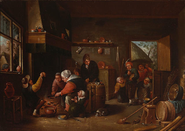 Manner of David Teniers the Younger An interior scene with figures cooking over a fire in the foreground 21 x 29 1/2in (53.3 x 74.9cm)