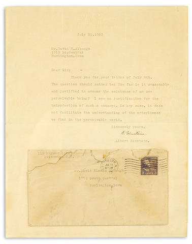 "EINSTEIN, ALBERT. 1879-1955. Typed Letter Signed (""A. Einstein""), 1 p, July 21, 1953,"