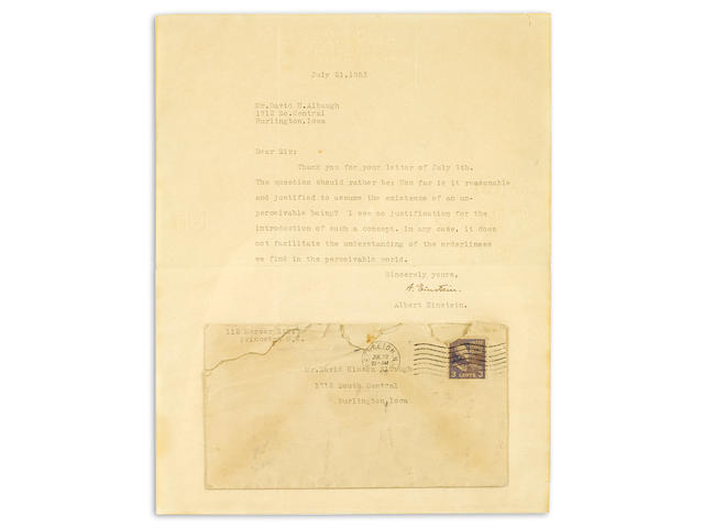 """EINSTEIN, ALBERT. 1879-1955. Typed Letter Signed (""""A. Einstein""""), 1 p, July 21, 1953,"""