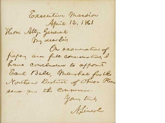 "LINCOLN, ABRAHAM. 1809-1865. Autograph Letter Signed (""A. Lincoln""), 1 p, 8vo, Washington, April 12, 1861,"
