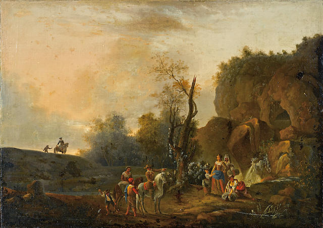 French School, late 18th/early 19th Century A landscape with travellers on a track and washerwomen by a river 22 1/2 x 31 3/4in