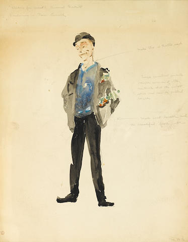 [BECKETT, SAMUEL. 1906-1989.] 4 watercolor and pen and ink costume designs for the original American production of Waiting for Godot, c.1956.