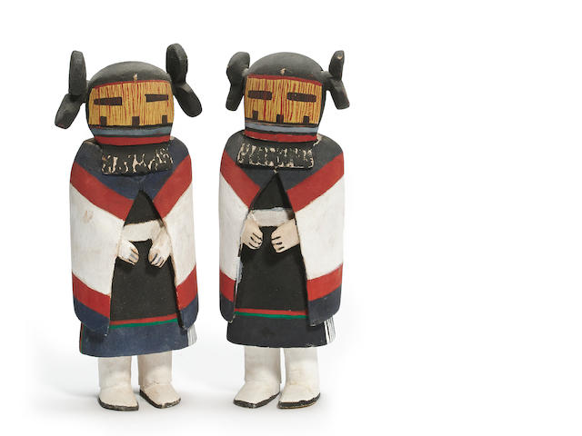 A pair of Hopi kachina dolls