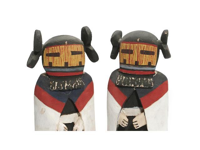 A pair of Hopi kachina dolls