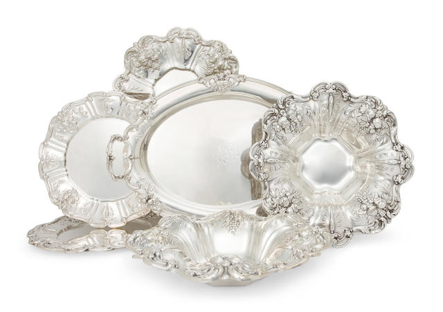 Six American sterling silver serving bowls or platters<BR />by Reed & Barton, Taunton, MA, mid-20th century