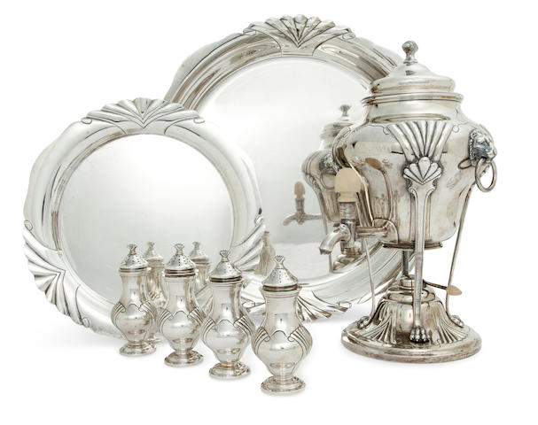 A set of seven American sterling silver table articles by Tuttle Silversmiths, Boston, MA, mid-20th century