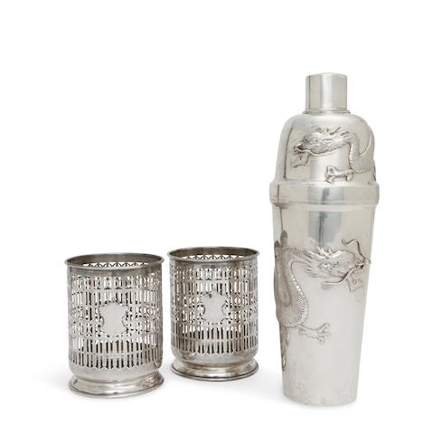 A Chinese Export silver cocktail shaker and a pair of sterling silver pierced cylindrical coasters<BR />first half 20th century