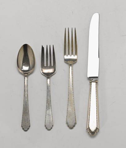An American sterling silver part flatware service by Lunt Silversmiths, Greenfield, MA, early 20th century