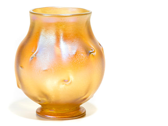 A Tiffany Studios Favrile glass cabinet vase early 20th century