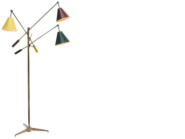 An Arredoluce painted metal and brass Triennale lamp designed 1950