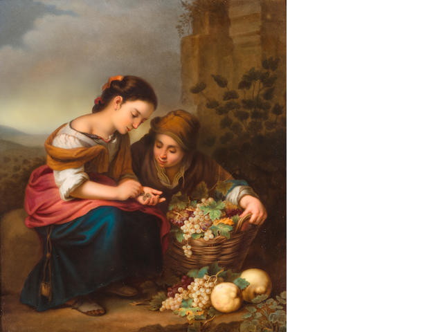 A Berlin (KPM) painted porcelain plaque, The Little Fruit Seller<BR />after Bartolomé Esteban Murillo (Spanish, 1618-1682)<BR />late 19th century