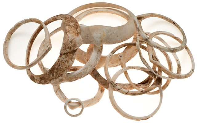 A grouping of Anasazi shell bracelets