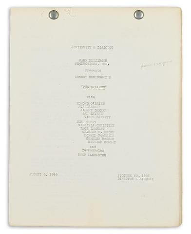 HEMINGWAY, ERNEST.  1899-1961. Mimeographed Manuscript, continuity and dialogue script for The Killers, 174 pp, 4to, n.p., August 6, 1946,