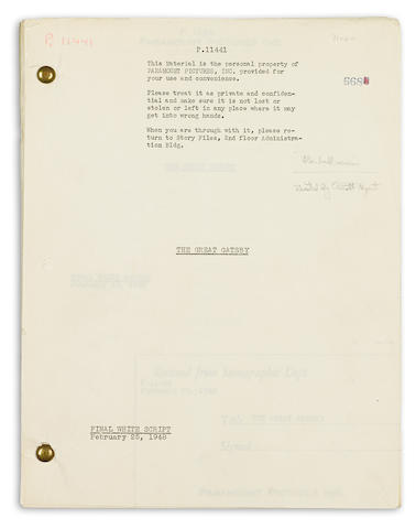 "A ""final white"" screenplay of The Great Gatsby"