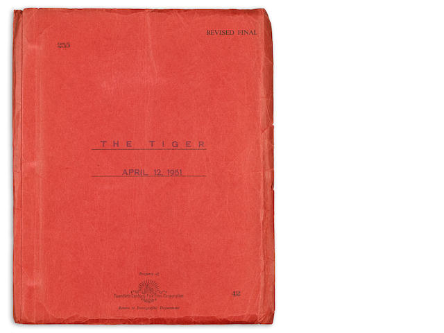 STEINBECK, JOHN. 1902-1968. Mimeographed manuscript, revised final draft of The Tiger, 125 pp, 4to, n.p., April 12, 1951, in red Twentieth Century-Fox wrappers,