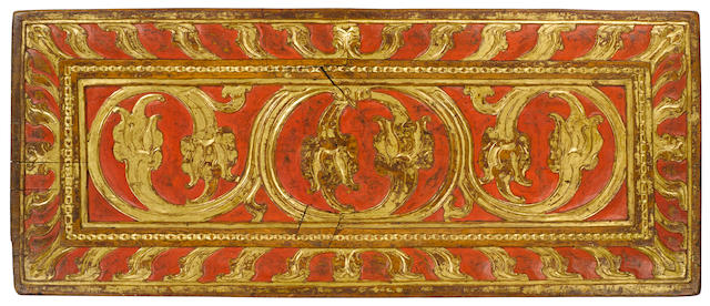 A gilt polychromed wood manuscript cover Tibet, circa 13th century