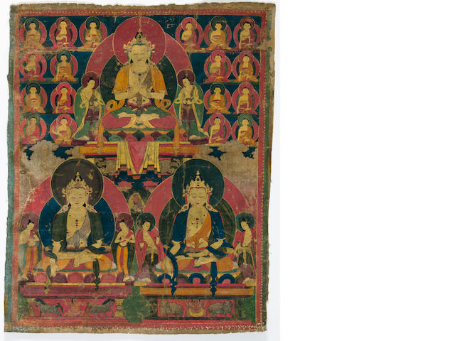 A Thangka of three Tathagatas  Tibet, 15th/16th century