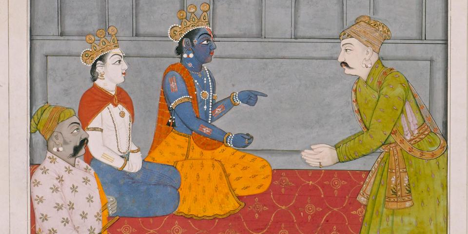 An illustration to the Bhagavata Purana: Krishna, Balrama, and Nanda receive Akrura Attributable to Fattu  Guler/Basohli, circa 1765-1770