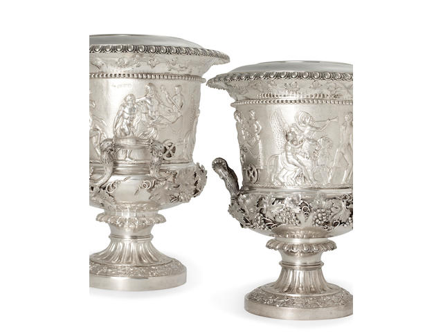 A pair of George IV sterling silver wine coolers<BR />by John Edward Terrey, London, 1827