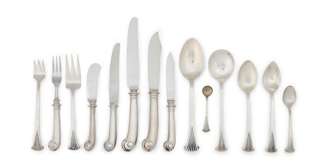 An extensive American sterling silver flatware service for twelve,  by Tuttle Silver Co., Boston, mid-20th century