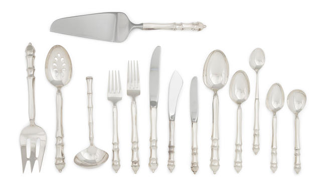 An American sterling silver flatware service for eight by Towle Silversmiths, Newburyport, MA, circa 1975