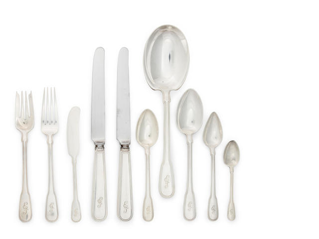 An American sterling silver part flatware service for twelve by Tiffany & Co., New York, NY, early 20th century