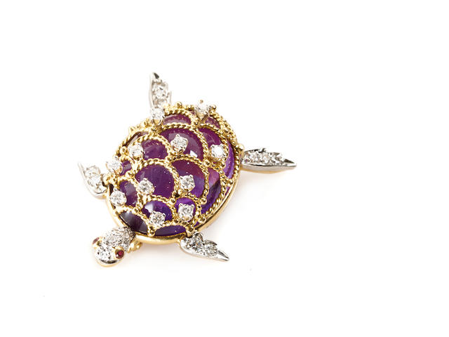 An amethyst and diamond turtle brooch,