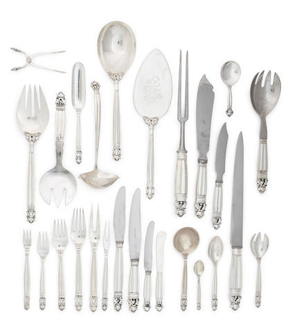 A Danish sterling silver flatware service for twelve<BR />by Georg Jensen & Wendel, Copenhagen, post 1945