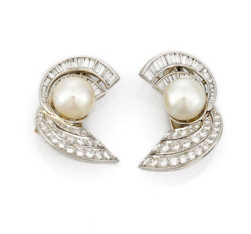 A pair of cultured pearl and diamond earclips, Trabert, Hoeffer & Mauboussin