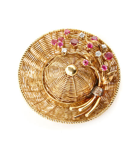 A ruby, diamond and 18k gold hat brooch