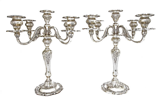A pair of American sterling silver five-light candelabra<BR />by Gorham Mfg. Co., Providence, RI, mid-20th century